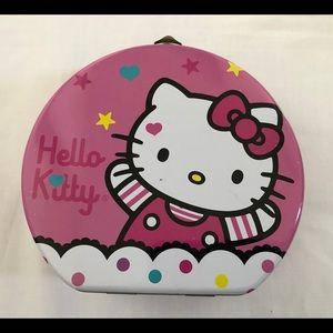 Hello Kitty Face Bow Tin Can Girls Play Box Purse